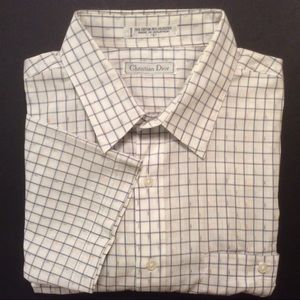 Christian Dior white blue grid short sleeve Size L